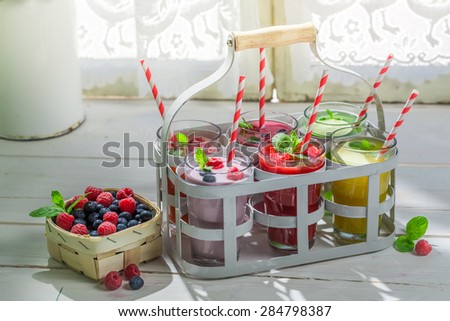 Delicious cocktail with fruity yogurt - stock photo