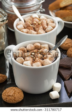 delicious cocoa with marshmallow and cookies, vertical, closeup - stock photo