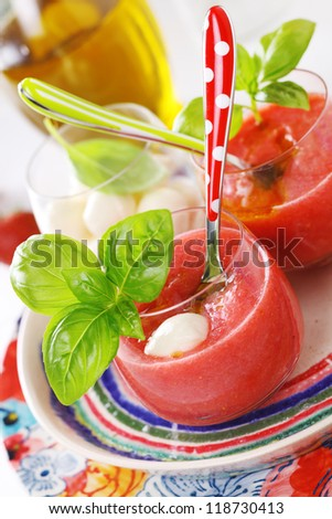 Delicious cold gazpacho soup with mozzarella and basil. - stock photo