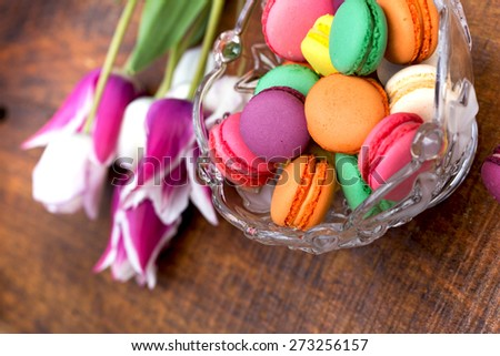 Delicious colorful macaroons - macarons - stock photo