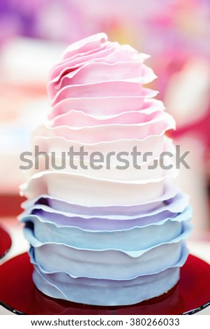 Delicious colorful wedding cake   - stock photo