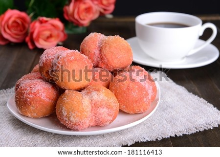 Delicious cookies peaches on table close-up - stock photo