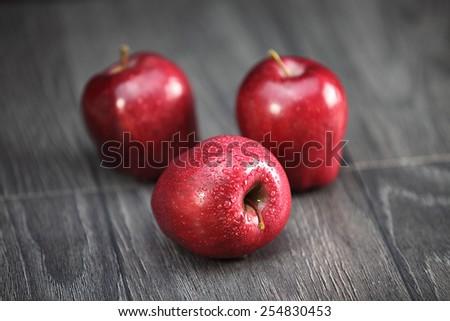 Delicious crispy red apples - stock photo