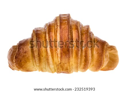 Delicious croissant for breakfast. On a white background. - stock photo