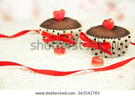 Delicious cupcake for Valentine Day. - stock photo