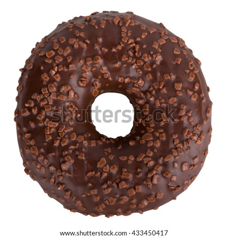 Delicious dark chocolate Donut with Sprinkles Isolated on White Background - stock photo