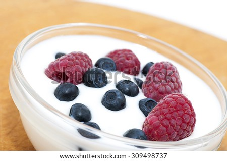 Delicious dessert made of yoghurt and ripe berries (raspberry and blueberry) - stock photo