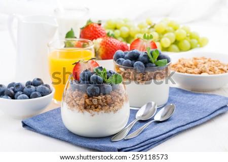 delicious dessert with cream, fresh berries and muesli, horizontal - stock photo