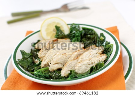 Delicious diet chicken meat with spinach - stock photo