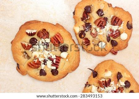 Delicious double chocolate cookies - stock photo