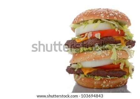 Delicious Double Decker Cheeseburger - stock photo