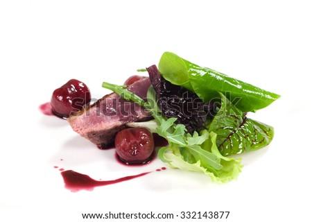 delicious duck with cherries - stock photo