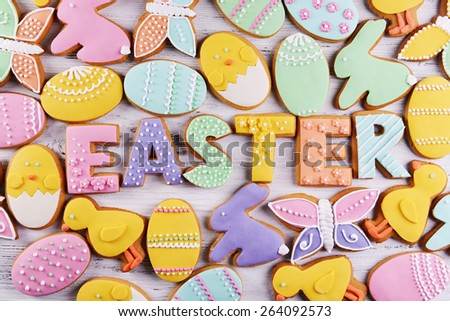 Delicious Easter cookies background - stock photo