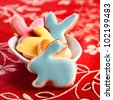 Delicious Easter Rabbits in a bowl - stock photo