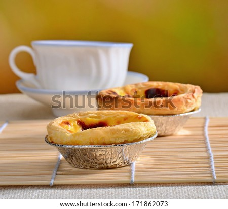 delicious egg tart on dining table - stock photo