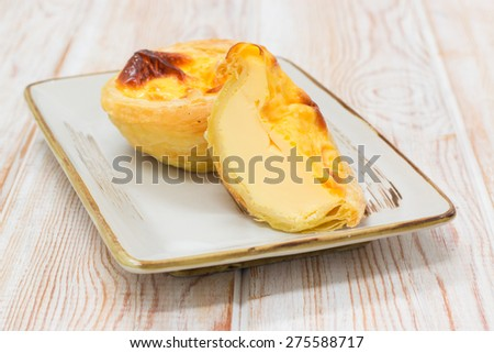 delicious egg tart on wood background - stock photo