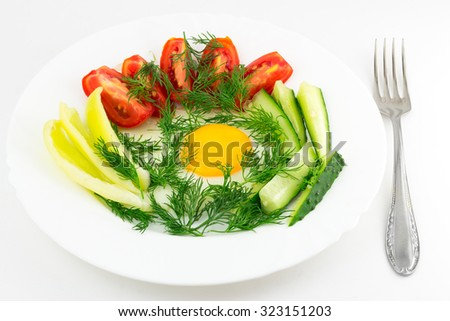 Delicious egg with vegetable, close up, morning meal, fork, isolated on white background. - stock photo