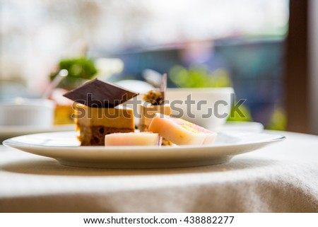 Delicious English marzipan dessert at the breakfast in London - stock photo