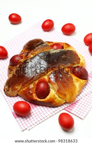 Delicious Folar (traditional sweet bread on Passover holiday) typical of Portugal - stock photo