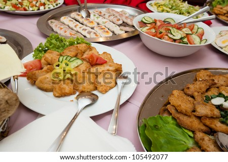 delicious food platters served on the wedding banquet - stock photo
