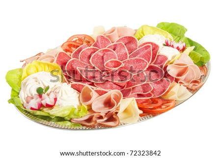 Delicious food, white isolated - stock photo
