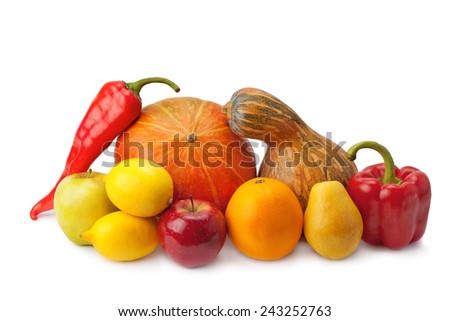 delicious fragrant fruit, ripe vegetables - stock photo