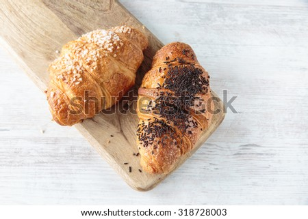 Delicious french croissant for a sweet breakfast - stock photo