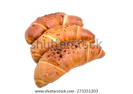 Delicious french croissants for breakfast. Isolated on a white background. - stock photo