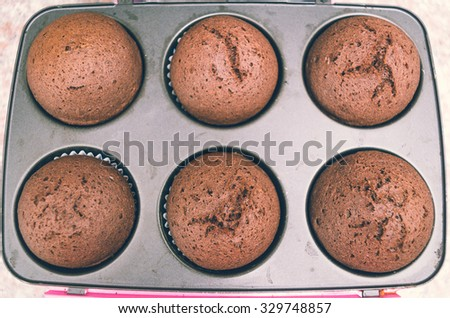 Delicious fresh chocolate cupcakes straight out of oven still sitting inside metal pan, shot from above. - stock photo