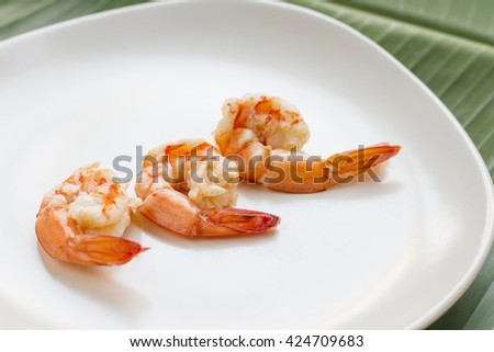 Delicious fresh cooked shrimp prepared to eat. - stock photo