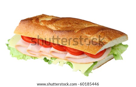 Delicious fresh sandwich with turkey breast, swiss and tomatoes - stock photo