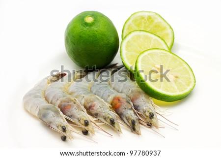 Delicious fresh Shrimp with lemon - stock photo