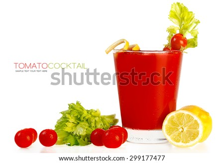 Delicious fresh tomato cocktail made with freshly squeezed tomato, lemon and parsley served in a glass with a celery stick, isolated on white with sample text. Template design - stock photo