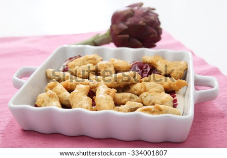 Delicious fried artichoke  - stock photo