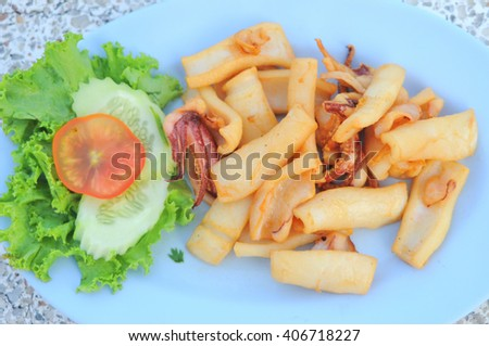 delicious fried squid of thaifood - stock photo
