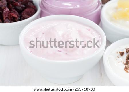 delicious fruit yogurt, close-up - stock photo
