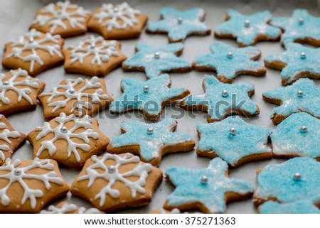 Delicious Gingerbread Cookies, homemade, different forms . - stock photo
