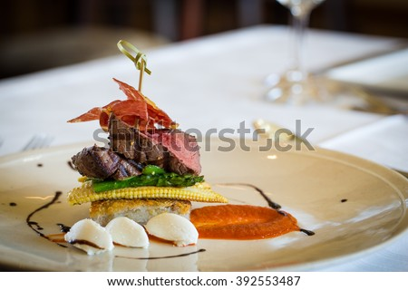 Delicious gourmet roast beef lunch in a fine dining gourmet restaurant - stock photo