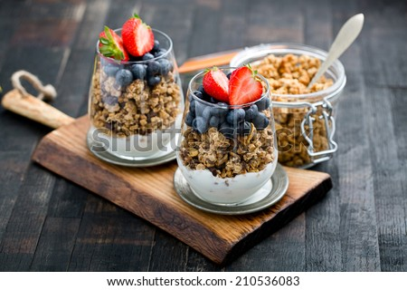 delicious granola with fruits - stock photo