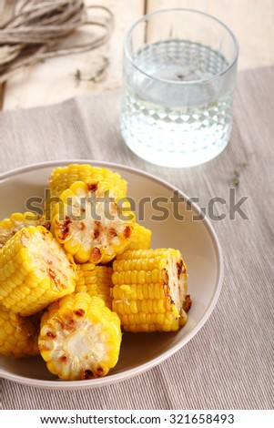 delicious grilled corn  - stock photo