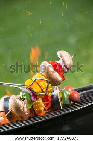 Delicious grilled vegetarian skewers on burning coals - stock photo