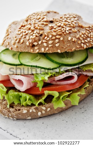 Delicious ham, cheese and salami sandwich with vegetables, lettuce, cherry tomatoes - stock photo