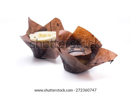 delicious handmade chocolate cupcake filled - stock photo