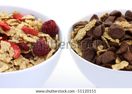 Delicious healthy breakfast is a bowl of muesli - stock photo