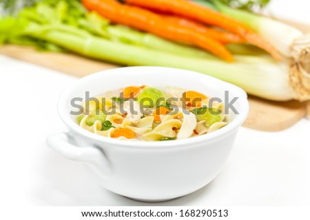Delicious Healthy Chicken Noodle Soup - stock photo