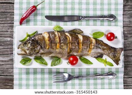Delicious healthy grilled fish  served on a platter with basil, lemon, cherry tomatoes for a tasty seafood dinner - stock photo