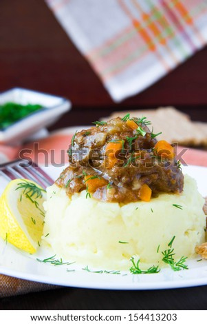 Delicious home-cooked dinner, mashed potato with stew of beef meat and gravy, beautiful presentation - stock photo