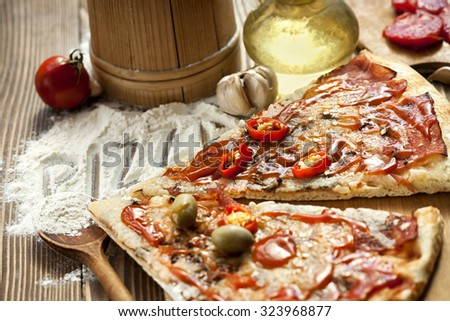Delicious home made pizza - stock photo