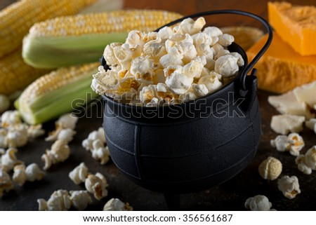 Delicious home made white cheddar flavor kettle corn popcorn. - stock photo