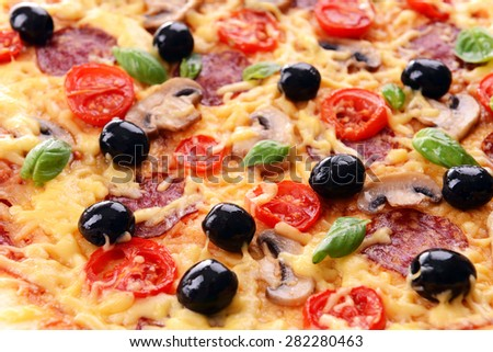 Delicious homemade pizza close-up - stock photo